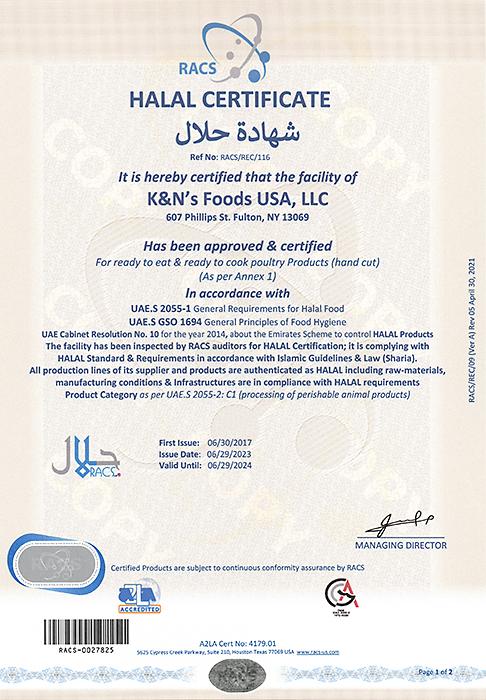 K&N's Foods USA - Certification