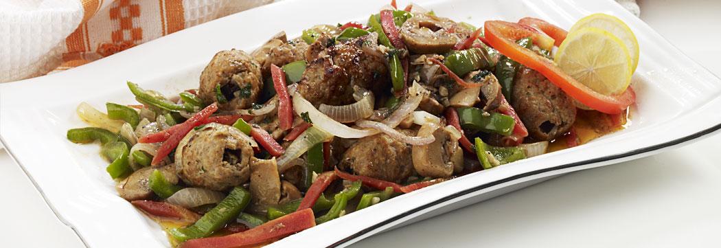 Kafta Kabab Pan Fried Vegetables